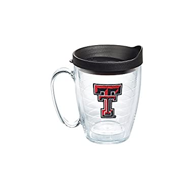 Tervis 1056770 Texas Tech Red Raiders Logo Tumbler with Emblem and Black Lid 16oz Mug, Clear