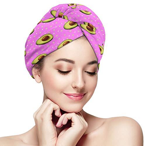 Toalla de pelo de microfibra rosa aguacate Envoltura de turbante Toallas de secado de cabello anti-encrespamiento súper absorbentes Tapa 28 x 11 pulgadas / 71 x 28 cm