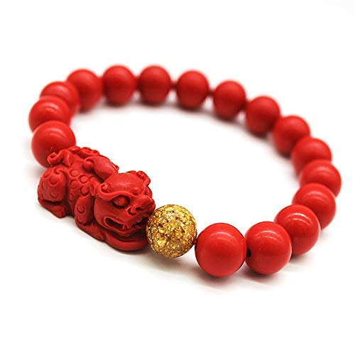 Feng Shui Amulet Bracelet Prosperity Red Bead Bracelet with Charm Red Pi Xiu/Pi Yao Attract Lucky Wealthy Bangle for Women/Men(10mm&1 Pixiu)