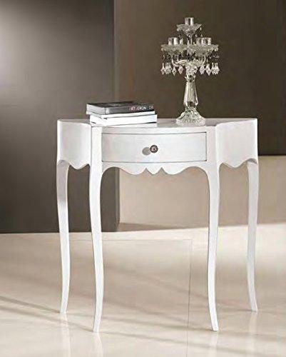 Console d'entrée en bois avec 1 tiroir blanc moulé provençal