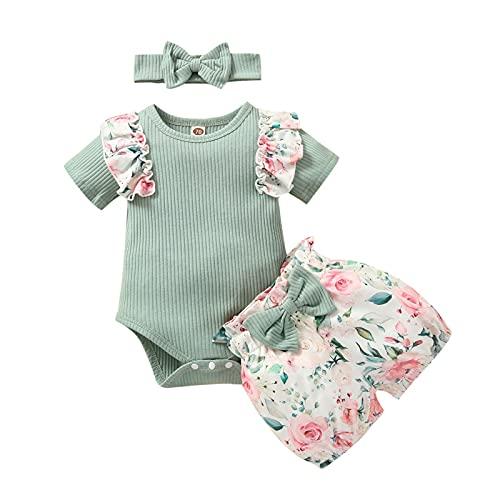 Mameluco de manga corta para bebé + pantalones cortos + diadema de lazo, estampado de flores, decoración de verano