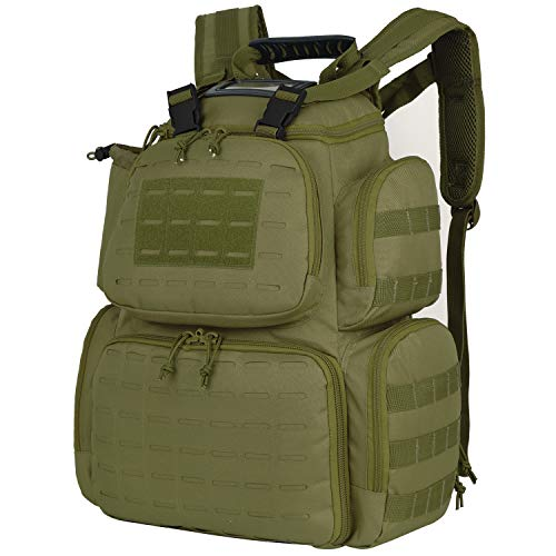 Gun Range Bag Tactical-Backpack for Handguns with 3-Pistol Case Green