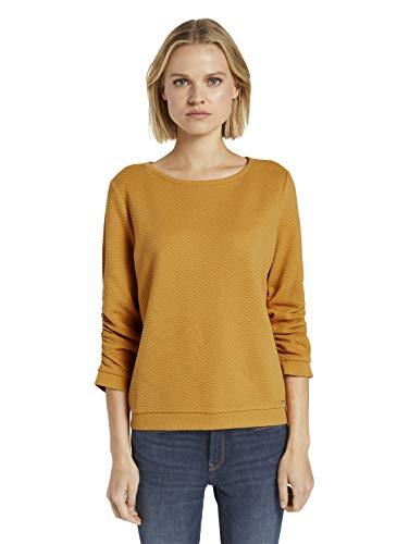 TOM TAILOR Denim Damen Struktur Sweatshirt, 10410-Indian Spice Yellow, L