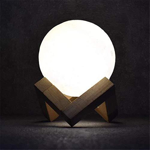 L.W.S Lámpara de escritorio Lámpara de escritorio Lámpara LED LUDER LUZ LUZ MESA LÁMPARA USB Recargable Creativo Luna Nocturna Luz Imprimir 3D Lámpara de luna Novedad LED Mesa Escritorio Lámpara Dormi