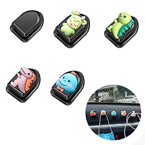 LNHJZ 5 ganchos adhesivos, gancho de dibujos animados para coche, ganchos para colgar en la pared para bolsas de basura, cables de carga, llaves, carteras, bolsos