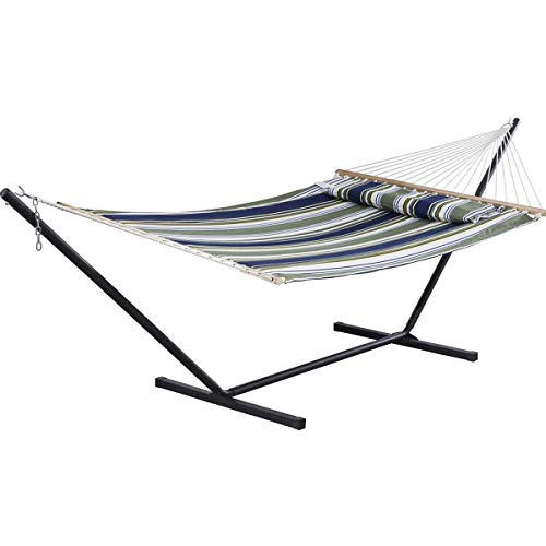 SUNCREAT Double Hammock, Extra Large Quilted Fabric Swing with Thick Hardwood Spreader Bars & Detachable Pillow, Heavy Duty, Perfect for Indoor/Outdoor Patio, Deck, Yard (12 FT Steel Stand Included)…