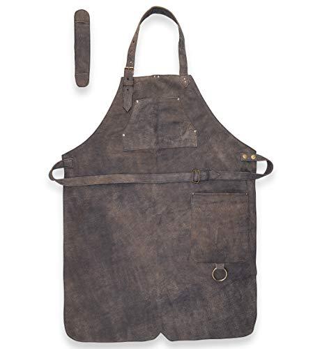Delantal de piel para barbacoa – Delantal de piel – Delantal vintage de piel – Delantal de barbacoa y cocina – Henry (antiguo)