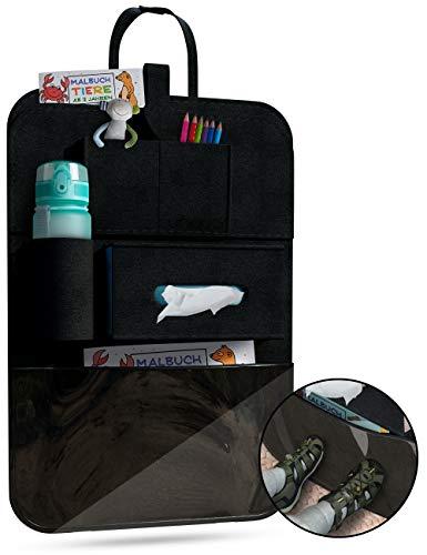 UNIQUOR® Autositz Organizer mit Schutzfolie [Schwarz] Hochwertiges Filz als Rückenlehnenschutz | Rücksitz Organizer zur idealen Aufbewahrung und Ordnung im Auto