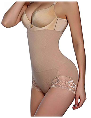 Nebility Women Body Shaper Butt Lifter Hi-Waist Panty Seamless Waist Trainer Tummy Control Shapewear (XS/S, Beige)