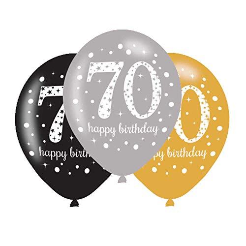 amscan 9900734 6 Ballons 70 Sparkling, Schwarz, Silber, Gold
