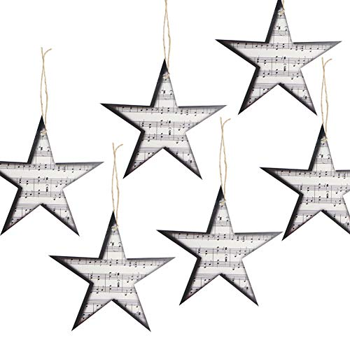 12Pcs Retro Paper Music Star Garland Christmas Tree Ornaments Home School Rock Roll Party Decoration SUNBEAUTY