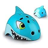 RTGE Casco de Ciclismo para niños, Lindo Animal de Dibujos Animados en 3D tiburón Fresco Cascos de monopatín para Bicicletas Ciclismo Patinaje sobre Ruedas esquí, Edad 2-13 años,50~54cm S