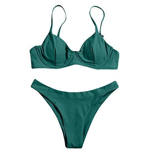 Fenverk Damen Bikini Set Push Up Gepolstert Bustier Zweiteilig Sommer Sportliches Bademode Strand Bikini,Damen Sexy Bikini Set Bustier Zweiteile Push-Up Bademode(A#Grün,L)