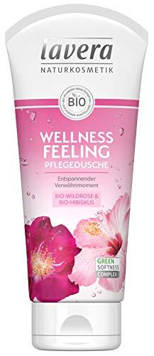 lavera Wellness Feeling Pflegedusche Bio Wildrose & Bio Hibiskus ∙ Entspannender Verwöhnmoment ∙ Vegan Bio Pflanzenwirkstoffe Naturkosmetik Natural & innovative Duschgel 1er Pack (1 x 200 ml)