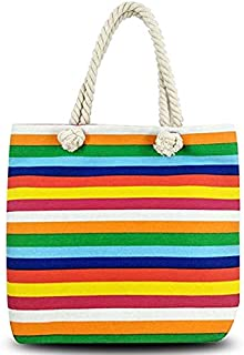 Beach Tote Bag, Hand Bag, ANGUO Large Size Canvas Shopping Bag Large Size with Cotton Rope Handle(Rainbow stripes)