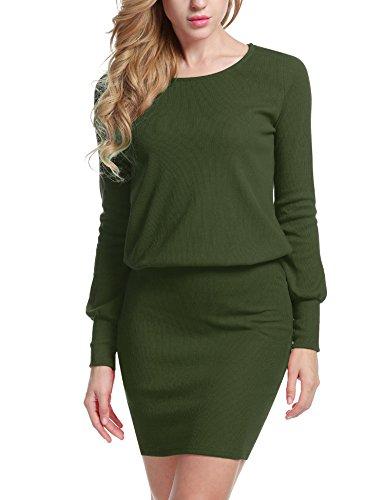 Meaneor Damen Strickkleid Sweatkleid Minikleid mit Langarm Sexy Paket Hüfte Kleid,Grün - M