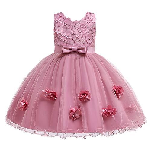 Livoral Madchen Geschenke 10 Jahre Formales Tüllkleid der Kleinkindkinderbabyspitzeblumenprinzessin-Partyshow(Pink,120)