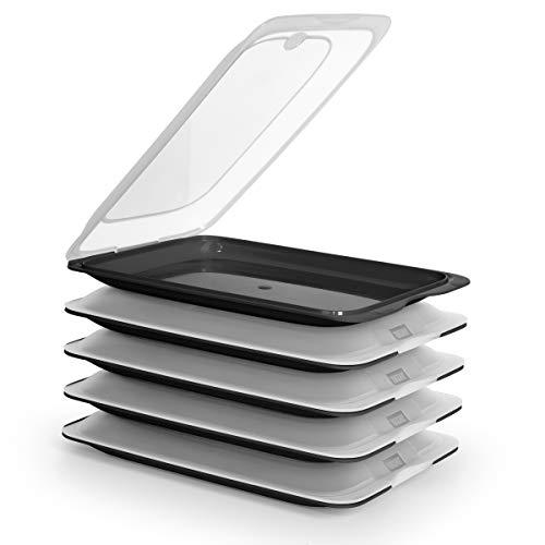 PracticFood Tatay Fresh System - Hochwertige Aufschnitt-Boxen, Frischhaltedose für Aufschnitt. Optimale Aufbewahrung im Kühlschrank, Maße 17 x 3.2 x 25.2 cm (5X Schwarz)