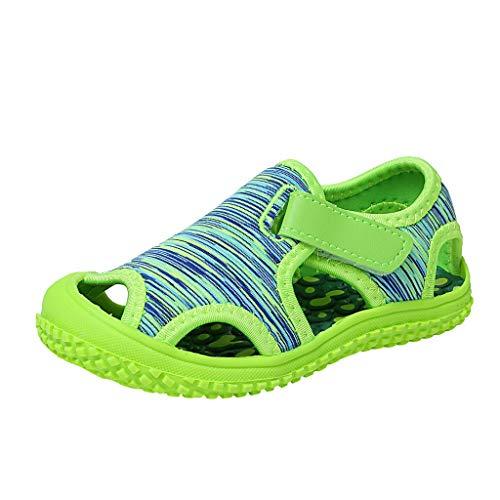 WINJIN Bébé Filles et Garçon Sandales Bout fermé Chaussures d'été pour Enfants Plate Sneakers Baskets Mode Casual Sports Plage Mules Premiers Pas Infant Girls Boys Toddler (1-6 Ans, Bleu Rose)
