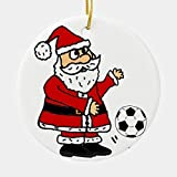 Cukudy Christmas Decorations, Christmas Ornaments 2020, Cute Santa Claus Playing Soccer Christmas Cartoon Ceramic Round Shape ORN.