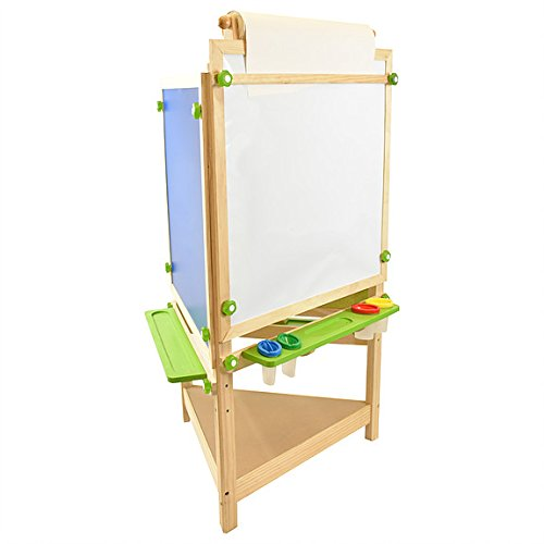 Little Partners Tri-Side Art Easel – Chalkboard, Felt & Dry Erase Board w/Paper Feeder – 3-Sided Art Supplies & Activities Station for Toddlers to Paint, Learn & Have Fun (Natural)