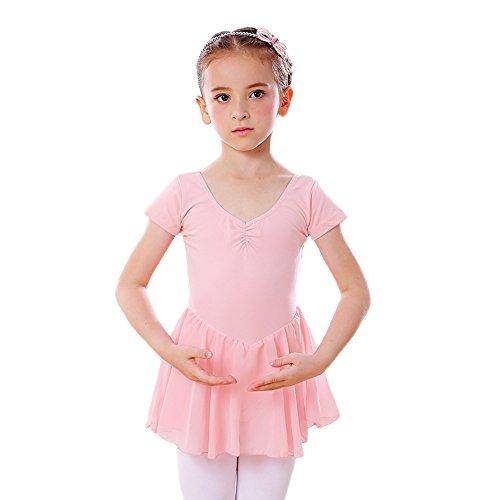 DANCEYOU Body Tutu Balletto Classica Manica Corta del Vestito Tutu Leotard Usura di Ballo con gonnelino in Chiffon Bambina/Ragazza Rose