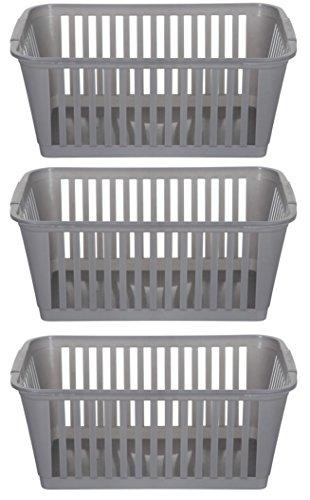 Whitefurze Lot de 3 paniers de rangement en plastique argenté, 37 cm