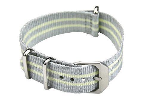 slow - Gelb graues Nylonband mit silberem Verschluss - 20mm Breite