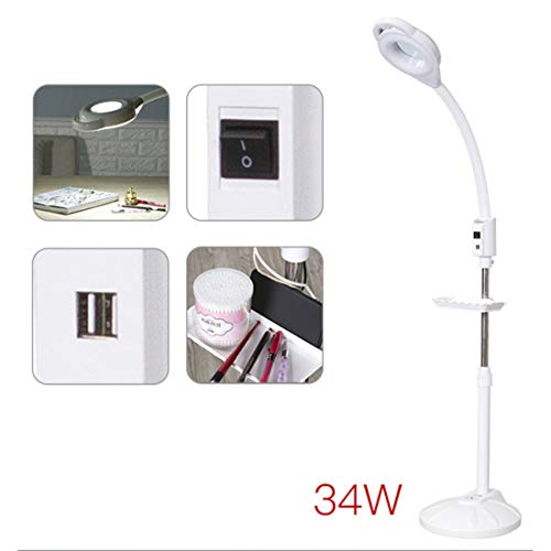 Vergrootglas, staande lamp met plank, instelbaar, 16 x vergrotingsglas, twee USB-aansluitingen voor schoonheidssalon, ziekenhuis, Dental Family Nowheels