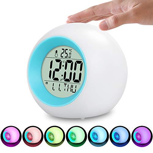 LED Kinderwecker, 7 Farben LED Lichtwecker, 12/24 Stunden Digitaluhr Licht, 7 Wecker Klingeltöne, Lichtwecker mit Datum und Temperatur, Wake Up Lichtwecker für Kinder