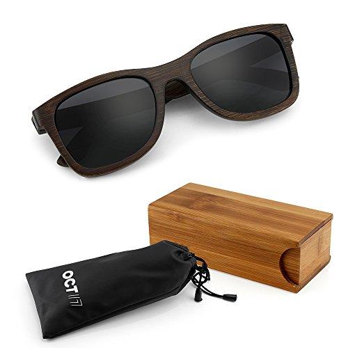 GEARONIC TM Polarized Wood Wooden Mens Womens Bamboo Vintage Sunglasses Eyewear with Bamboo box - Gray