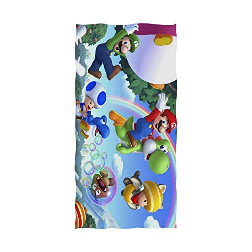 Emily-Shop Super-Marioes Bros Toalla de baño Toalla de Playa de Gran tamaño 55 x 32 Pulgadas Uso como Yoga Viaje Camping Gimnasio Toallas de Piscina en Carro de Playa Sillas de Playa