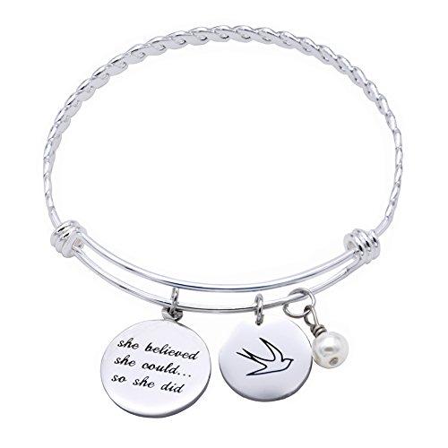 Oriya Stainless Steel She Believed She Could So She Did Bracelet Gift for Women Girl, Inspirational Bracelet (Grey-Bracelet)