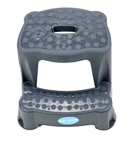 2 Tritt-Hocker für Kinder als Stehhilfe fürs Waschbecken und zum Sitzen, gummierte Füße, 2 Stufen, aufgeraute Stehfläche, Eingriff zum Tragen Tragkraft max. 45 kg (Anthrazit)