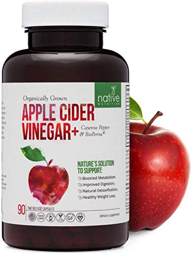 Organic Apple Cider Vinegar Capsules – Extra Strength 1500mg with Bioperine & Cayenne Pepper for Max Absorption. Premium Non-GMO Digestive Health Supplement for Faster Weight Loss, Bloating & Detox