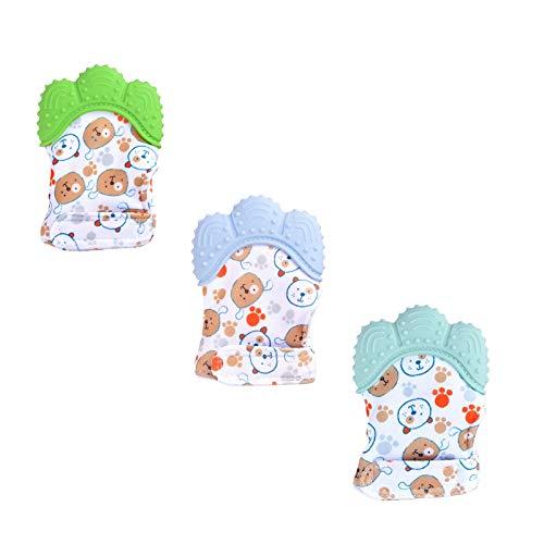 3PCS Mitaines de dentition pour bébés, Gant de dentition mitaine de dentition en silicone, Bebe Apaise Gencives Lavable en machine, Silicone Alimentaire - Protège Mains (3PC, C)