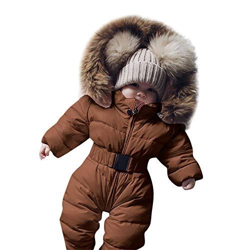 Covermason Baby Babykleidung Neugeborene Winter,Säuglingsbaby Junge Mädchen Spielanzug Strampler Jacke Mit Kapuze Overall Warm Dicker Mantel Coat Outfit (Braun, 0-3 Monate)
