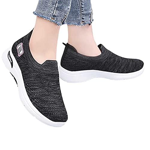 Zapatos de mujer, zapatos de moda para mujer, de suela suave, cómodos, voladores, informales, para niñas, de viaje, fiesta, para todo partido, Black, 41 EU