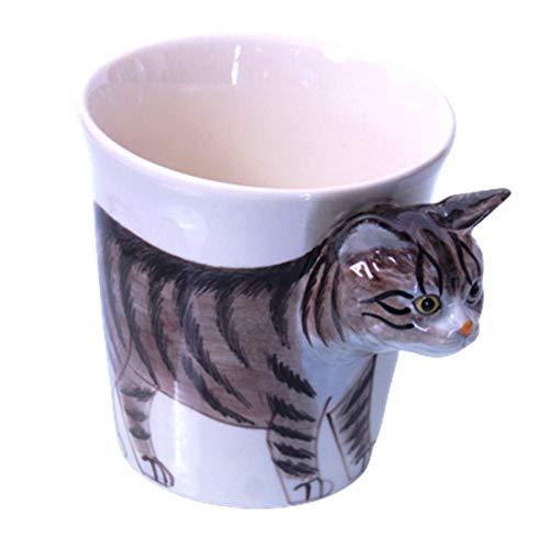 b2see 3D Tier/Katzen-Tasse 3D groß/lustig/mit Ohren Tasse/Becher Katzen-Motiv/Katzenliebhaber Geschenk-Idee/Deko-Ration Keramik