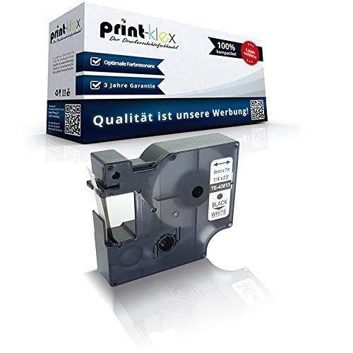 Print-Klex Schriftband kompatibel für Dymo D1 43613 1000 Plus 2000 5500 Labelmanager 150 160 200 210D 220P 200 S0720780 6 mm x 7 m Black White Farb Band - Color Print Serie