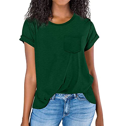 Green Tops for Women Raw Egde Sleeve Basic Casual Tshirts for Ladies Lightweight Workout Loose Fit Shirts XL