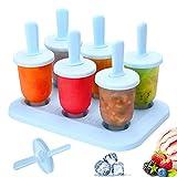 Bluelves Moldes para Helados, 6 Mini Fabricantes Paletas Heladas Popsicle Reutilizable Moldes Frozen Ice Cream Pop, BPA Grado Alimenticio para Niños, Bebés y Adultos, Azul