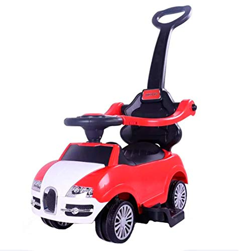 XXW Kinderwagen Kinder Simulation Auto-Modell Walker Abnehmbare bequem und schnell mit Musik Geeignet für Kinder im Alter von 1-5,Rot