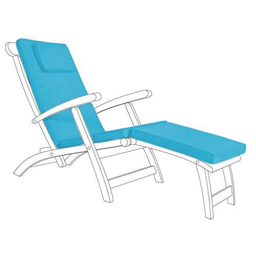 Gardenista Garden Steamer Sunlounger Replacement Pad | Sun lounger Recliner Patio Furniture Cushion | Water Resistant Hypoallergenic Fibre Filled | Durable Thick & Comfortable (Turquoise)
