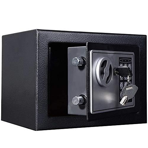 ZBM - ZBM 16L Digital Safe Box (zwart) grote capaciteit veiligheid Elektronische veiligheid Stalen geld contant geld Home Office, met volledig cijferig toetsenbord & 2 uitschakelen sleutels & 4 installatieschroeven