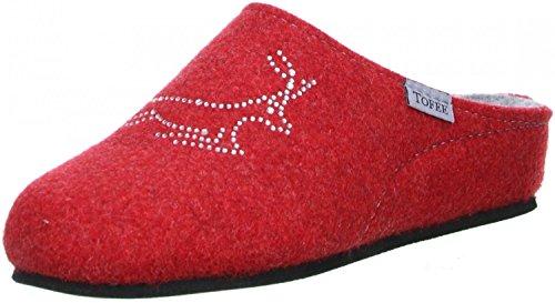 TOFEE Damen Hausschuhe Pantoffeln Naturwollfilz (Hirsch) rot, Größe:38, Farbe:Rot