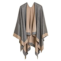 REVERSIBLE DESIGN - Melifluos ponchos are double sided, which means when you buy one, you get value of two! For example, if one side is gray with beige border, the other side will be beige with gray border, and the same logic applies to all our desig...