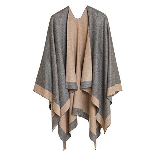 Melifluos Designed in Spain Cardigan Poncho Cap: Femmes élégant cardigan châle Wrap Sweat manteau pour l'hiver (Beige gris clair)