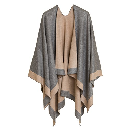Women's Shawl Wrap Poncho Ruana Cape Cardigan Sweater Open Front for Fall Winter (PC01-4L)