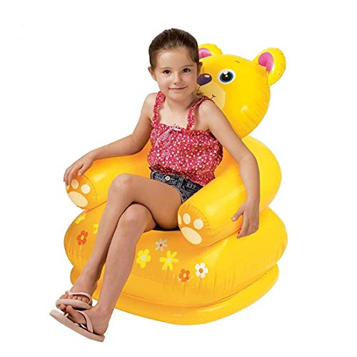 RUBELA Toys and Games Teddy Bear Shape Inflatable Chair for Kids   PVC Animal Sofa for Toddlers   Plastic Air Chair for Children, Multicolor Happy Animal Bear Chair Assortment